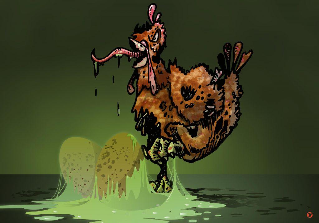 Une poule zombie