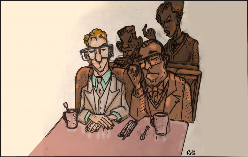 Illustration clients sérieux dinner americain