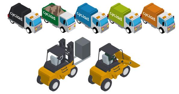 Les véhicules de la collecte